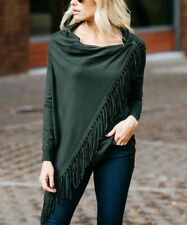 Size 8 Cardigan Olive Green Ladies Womens Wrap Round With Fringe