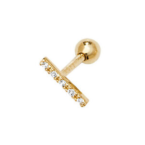9ct Yellow Gold CZ Rectangle Helix Cartilage SINGLE Piercing Stud - Gift Boxed