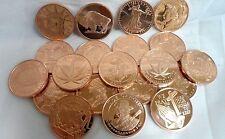 20 Different  1oz. .999 Fine Copper Bullion Art Round in Mint Tube Free Shipping