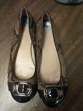 Etienne Aigner Brown Snake Print Slip On Loafer Shoe Leather Womens Size 7.5 M