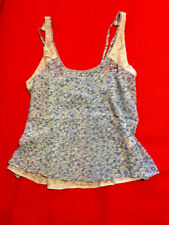 Abercrombie & Fitch Women Tank Top Sz L Blue Floral Lace Pintucked Sheer New