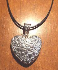 collier ciré noir 47 cm avec pendentif coeur 29x30mm