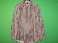 VTG Tommy Hilfiger Men's Size L Large 100% Cotton Geometric Long Slv Shirt
