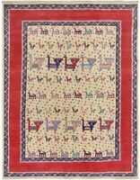 Tribal Animal Design Super Kazak Oriental Area Rug Wool Hand-Knotted 5x7 Carpet