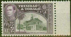 Trinidad & Tobago 1938 12c Black & Purple SG252a Fine MNH