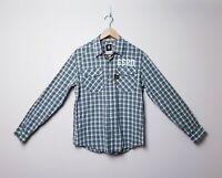 G Star Raw Denim Mens Size L Plaid Check Western Cowboy Shirt Pearl snaps button