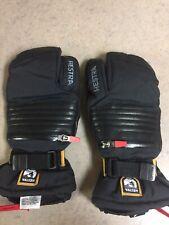 New listing New Hestra Leather Heli Ski 3 Finger Mitten Glove Black Size 8 Medium