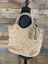 Oasis Ladies Mushroom Grey/Brown Faux Suede Woven-Look Tote Handbag NEW