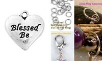 Blessed Be Heart Silver Charm For Bracelet Traditional Dangle Clasp Lobster