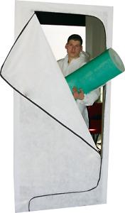 Staubschutztür mit Reißverschluss