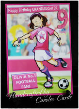 Du14 PERSONALISED BIRTHDAY CARD NAME/AGE/SPORT FOOTBALL PINK/GIRL/DAUGHTER/NIECE