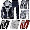Fall Winter Mens Tracksuit Hooded Jacket Pants Set Fleece Hoodie Sweatshirt Suit