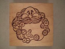 Button Santa Wood Mounted Rubber Stamp - The Cottage Stamper, Christmas, St Nick