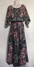 VINTAGE 70's Maxi DALANI II Designer Mod Black Floral Dress 4-6 floor length