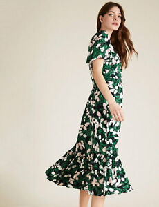 MARKS AND SPENCER FLORAL ANGEL SLEEVE MIDI WRAP DRESS SIZE 22 NAVY MIX COLOUR
