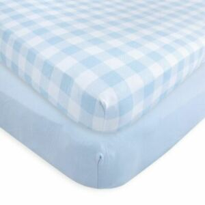 Touched By Nature Boy Organic Fitted Crib Sheets, 2-Pack, Plaid Blue