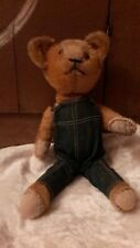 12 1/2 Inch American  Antique Mohair Bear 1920's-1930's with Coveralls