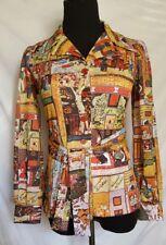 VINTAGE 70s  Disco Polyester Shirt Top Women's Tie Waist Asian Print Butterfly