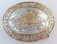 HEAVY 117 G Sterling Silver Cowboy Horse Vintage Western Belt Buckle