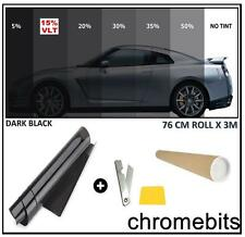 CAR VAN HOME WINDOW TINT FILM TINTING DARK BLACK SMOKE 15% 76cm x 3M  30X118""