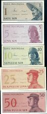 INDONESIA SET 5 PCS 1 5 10 25 50 SEN 1964 unc