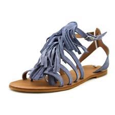 Calzado de mujer sandalias con tiras planos de color principal azul