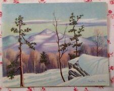 Vintage 1940s Stephen Hamilton Christmas Greeting Card Mountain Snow Scene