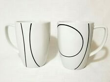 Corelle Coordinates 2 Coffee Mugs SIMPLE LINES Black and White EXC