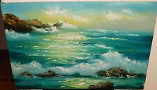 """L.HUNT """"KINGSLEY POINT"""" FLORIDA LARGE SEASCAPE OIL ON CANVAS PAINTING"""