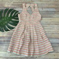Banana Republic Womens Striped Dress Size 6 Cream Orange Linen Blend Pockets