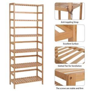 6 Layer Bamboo Shelf Shelving Bookshelf Adjustable Storage for Bedroom Organizer