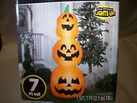 7' 3 Pumpkin Stack Halloween Inflatable Lighted Yard Airblown