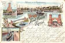 Nord Ostsee Kanal Germany Lighthouse Bridge Harbor Gruss aus Postcard J61393