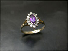 Amethyst & Diamond Simulant Ring size N1/2 9ct gold Quality London HM 1989