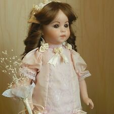 "Sfbj #247 Artist Reproduction 17"" All Bisque/Porcelain Doll in Pink Silk Dress"