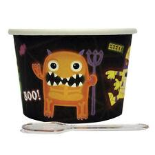 12 x Boo Crew Monsters Dessert Pots & Spoons Halloween monsters ice cream tubs