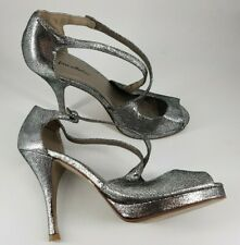 Fiore size 5 (38) silver faux leather strappy peep toe platform stiletto heels
