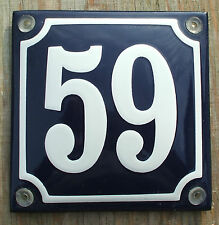 FRENCH ENAMEL HOUSE NUMBER SIGN. WHITE No.59 ON A BLUE BACKGROUND 10x10cm.