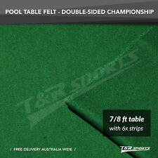 """Championship Green Double-sided Wool Pool Snooker Table Cloth/Felt 6x Strip 7""""8"""""""