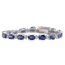 10.95 Carat Natural Blue Sapphire and Diamond 14K White Gold Tennis Bracelet