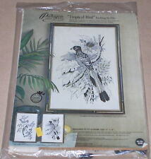 "1976 Paragon / Adele Veres ""Tropical Bird"" Linen Embroidery Kit 12x18"""