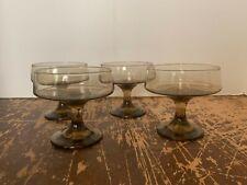Vintage Libbey Tawny Accent Sherbet or Champagne Goblet Set of 4
