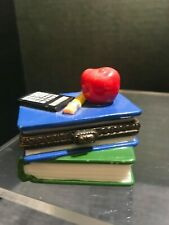 Midwest miniature Ceramic Treasure Trinket boxes books with apple and pencil