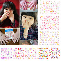 5Sheets Cartoon Kids Safety Nail Stickers DIY Makeup Nail Art Christmas Gift  Fz