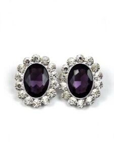 Earrings Purple and Silver Diamante Women Earrings with Oval Stones