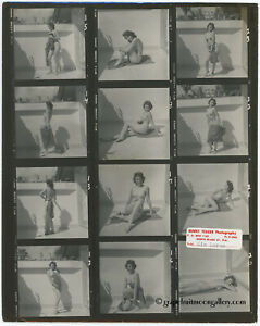 Bunny Yeager Pin-Up Contact Sheet Photograph Pretty Nude Figure Model Kim Loren