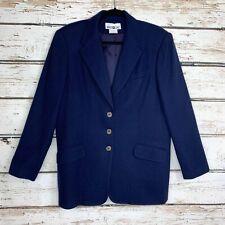 Size 12/14 Vintage White Stag 100% Wool Navy Blue Boyfriend 3 Button Blazer