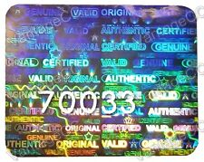 980x LARGE Security Hologram Stickers, NUMBERED, 25mm x 20mm, Warranty Labels