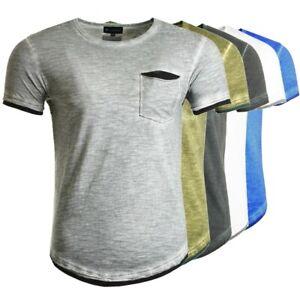 Herren T-Shirt mit Vintage Waschung aus 100% Baumwolle Slim Fit NEU