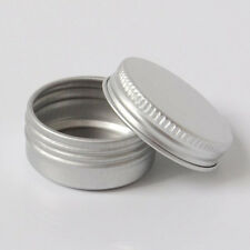Screw Thread Small Round Lip Balm Metal Box for Travel Portable Container 2Pcs